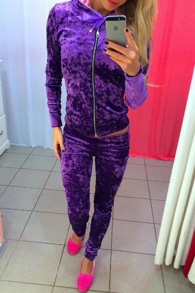 Popular Plain Velvet Zippered Hoodie with Slim-Fit Women's Skinny Pants