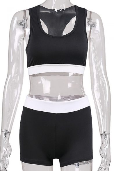 Simple Leisure Color Block Sleeveless Round Neck Cropped Top Co-ords