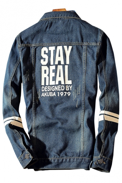 Single Simple Ripped Long Jacket Breasted Letter Striped Denim Sleeve Print Lapel IFwqtYFxrc