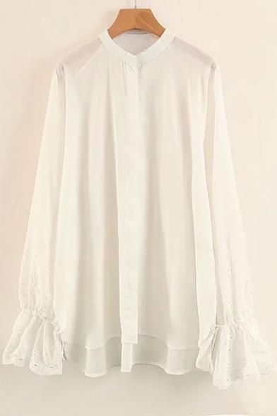 Simple Plain Hollow Out Flared Cuff Long Sleeve Button Down Dip Hem Shirt