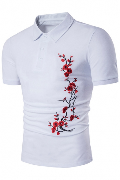 New Slim Tee Lapel Fit Arrival Short Summer's Embroidered Floral Collar Sleeve ZqwFBI