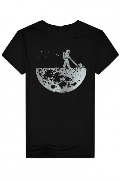 Astronaut Round Short Casual Tee Neck Planet Trendy Sleeves Printed UPwzxOqPn