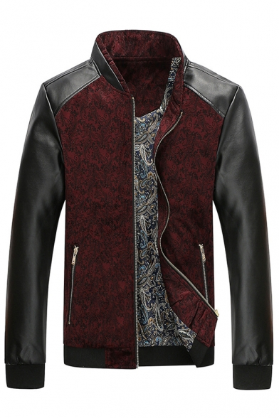 PU Color Block Zippered Trendy Symbol Pattern with Baroque Patchwork Pockets Jacket wxqCwX4tSR