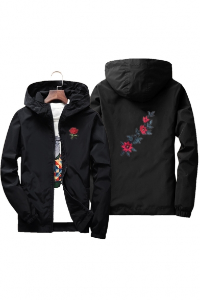 Unisex Floral Embroidered Zippered Hooded Spring Coat with Pockets