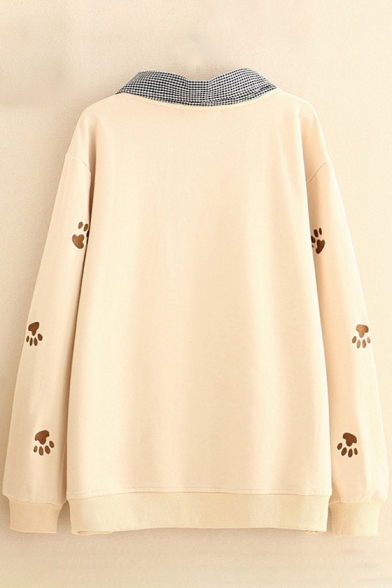 Cat Embroidered Layer Lapel Collar Long Sleeve Pullover Sweatshirt