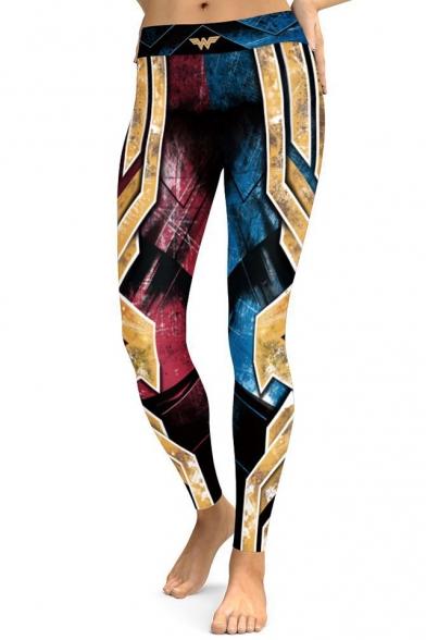 Cool Color Block Printed Slim-Fit Elastic Waist Leggings