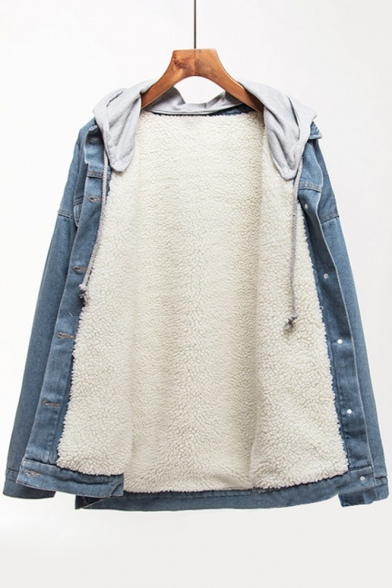 Fashion Contrast Hooded Long Sleeve Single Breasted Denim Jacket for Couple