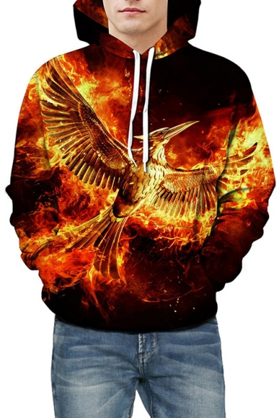 Leisure 3D Fire Phoenix Print Drawstring Hood Long Sleeve Hoodie for Couple
