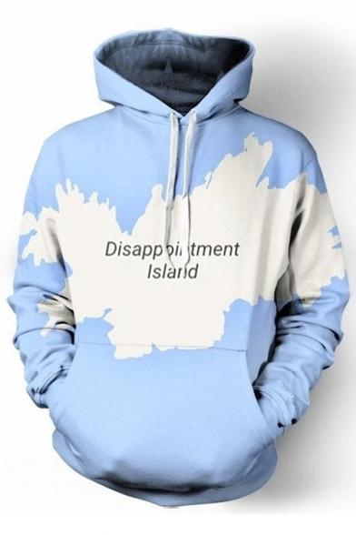 Long Drawstring New Map Fashion Sleeve Letter Print Hoodie Hood qq7RBwY