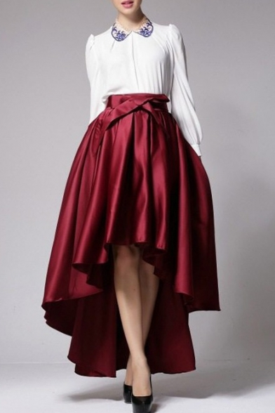 New Stylish Simple Plain Bow Front High Low Hem Skirt - Beautifulhalo.com b0cd98555c0