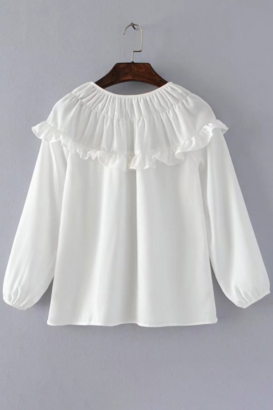 Popular Floral Embroidered Round Neck Ruffle Detail Loose Pullover Blouse