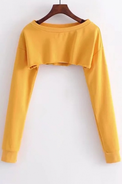 Cropped Plain Pullover Loose Sleeves Sexy One Sweatshirt Shoulder Long TCfSZgq