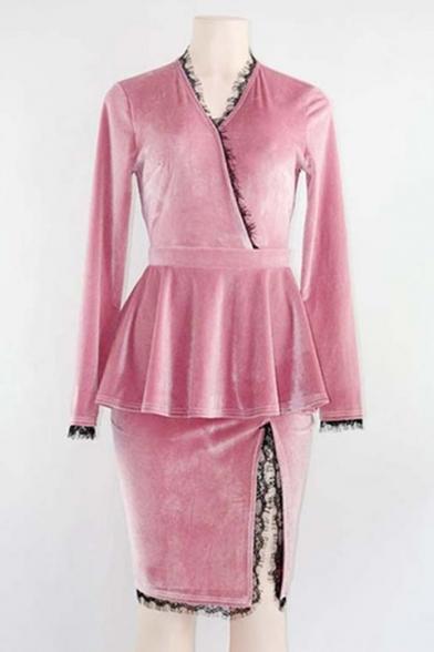 Skirt Plain Detachable Split Sleeve Side Panel Simple Long Dress Lace with H1vxTdnZ