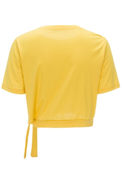 Sportive Letter Pattern Round Neck Short Sleeves Bow Tie Hem Summer T-shirt