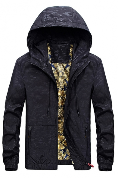 Sleeve Print Jacket Camouflage Stylish Hooded Long Zipper 7TSwW
