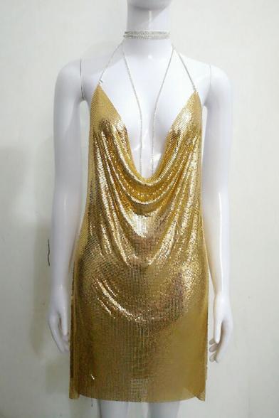 Summer Fashion Split Side Halter Neck Open Back Mini Sequined Draped Cami Dress