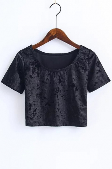 Trendy Scoop Neck Short Sleeves Plain Cropped Summer Velvet Tee