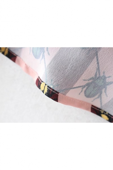 Unique Striped Insect Bug Pattern Point Collar Long Sleeves Button Down Shirt