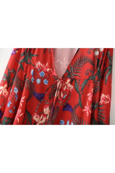Vintage Style V-Neck Long Blouson Sleeves Floral Printed Midi Wrap Dress