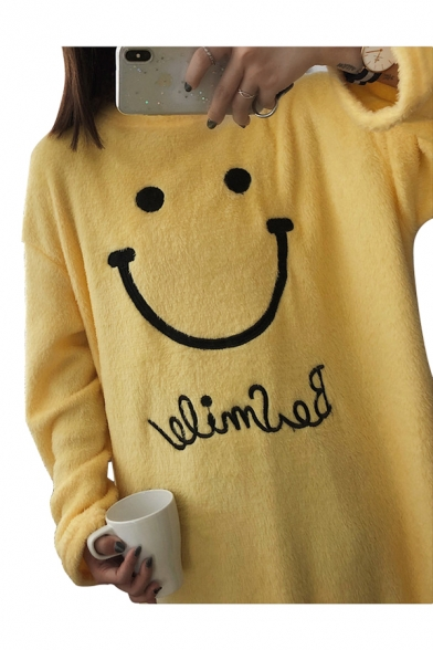 Casual Smiley Face Letter Pattern Round Neck Loose Shift Midi Pajama Dress