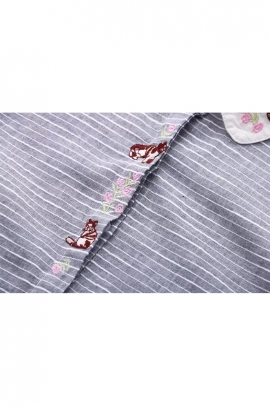Chic Floral Cartoon Embroidered Striped Pattern Contrast Lapel Long Sleeve Shirt