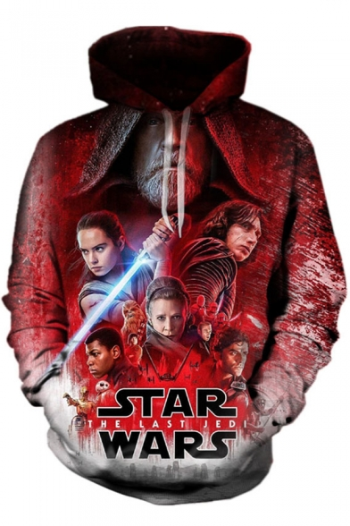 Chic Movie Character Letter Printed Long Sleeves Pullover Hoodie with Pocket