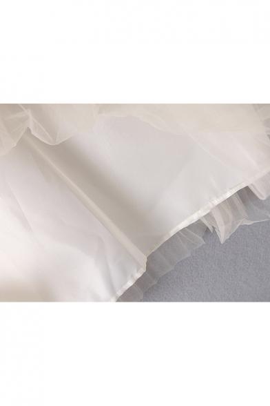 Chic Sheer Mesh Insert Long Sleeve Simple Plain Pleated Blouse