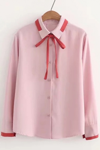 Lapel Detail Shirt Long Single Contrast Sleeve Breasted Collar Bow xFnA1OA
