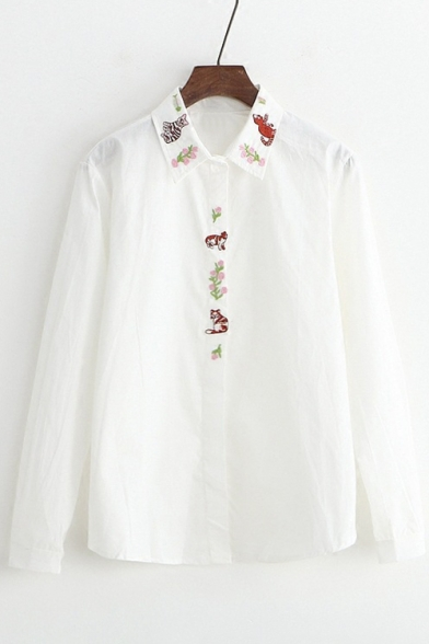 Fancy Cartoon Cat Floral Embroidered Lapel Long Sleeve Button Down Shirt