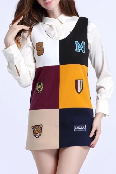 Fashionable Color Block Letter Badge Pattern Scoop Neck Tank Dress