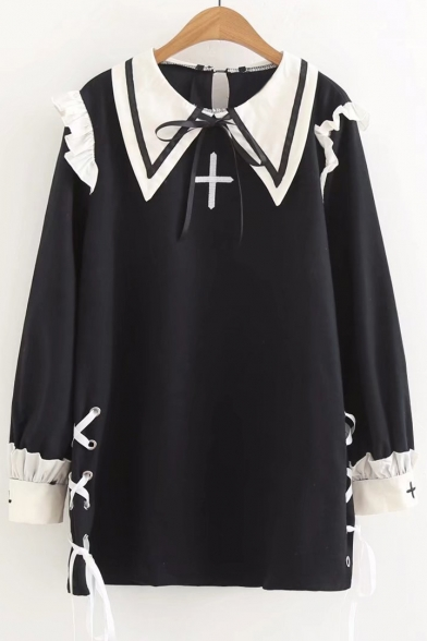 Side Dress Cross Girlish Color Long Embroidered Sleeve Block Tie nZxfO4T