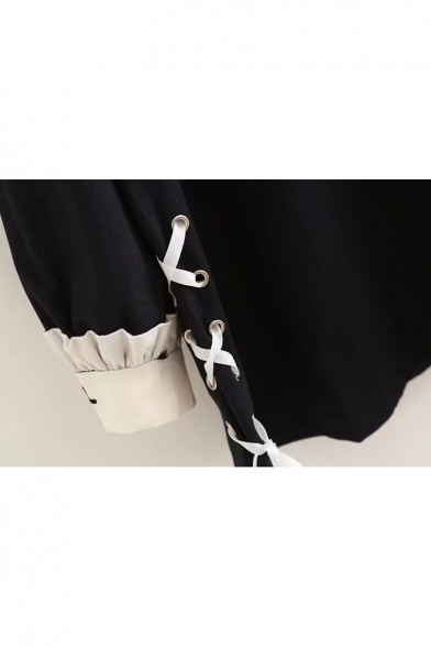 Girlish Cross Embroidered Color Block Tie Side Long Sleeve Dress