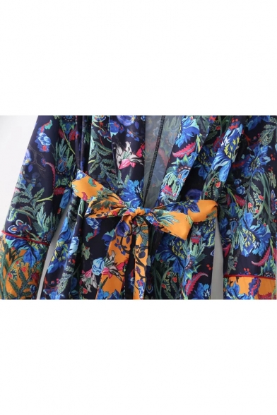 Floral Printed Notched Lapel Bow Belted Loose Tunic Shirt