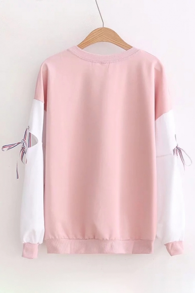 Block Neck Tie Long Letter Pattern Round Sleeve Color Sweatshirt Pullover Sfwqq0At5W