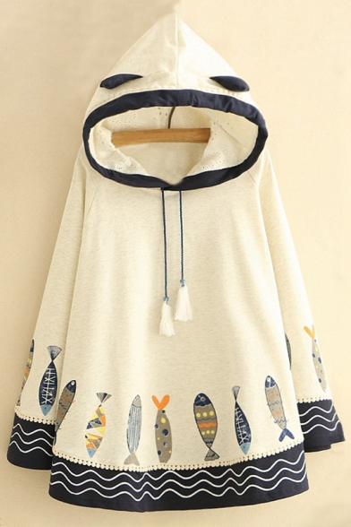 Lovely Cartoon Fishes Printed Long Sleeve Loose Hooded Cape