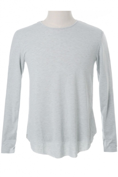 Spring Round Long Neck Tee Plain Men's Sleeves Fashion wAvqX