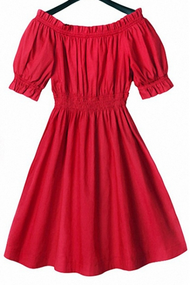 Nifty Off the Shoulder Elastic Waist & Cuffs Short Sleeves Plain Fit & Flared Mini Dress