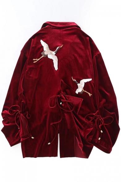 Retro Crane Embroidered Notch Lapel Long Sleeve Split Side Tie Coat