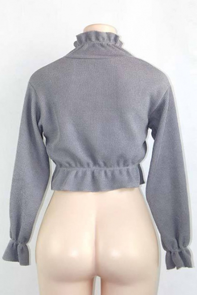 Long Cropped Pullover Sweater Sleeves Knitted Ruffle Retro Trim 7XwqAAE