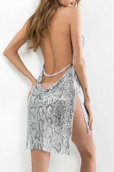 Sexy Metallic Snakeskin Printed Halter Neck Open Back Split Side Mini Dress