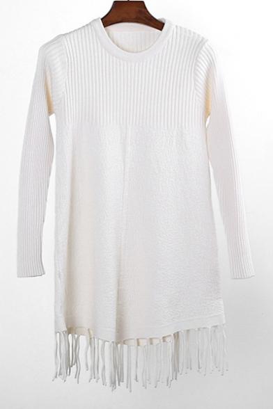Simple Plain Tassel Hem Long Sleeve Round Neck Pullover Sweater