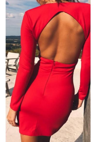 Spring Fashion Plunge Neck Plain Cutout Hollow Back Bodycon Mini Dress