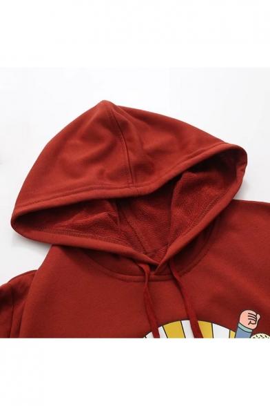 Stylish Cartoon Pattern Plaids Patchwork Girlish Midi Hoodie Dress