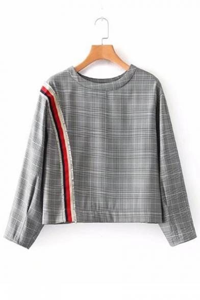 Stylish Checkered Plaids Striped Tassel Embellished Round Neck Cropped Blouse