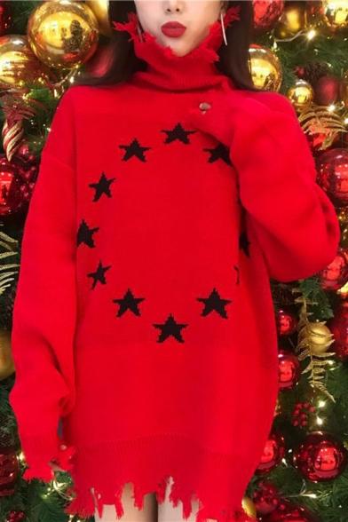 High Hem Ripped Neck Pullover Off Sweater Pattern Stylish Star IxqwEpZXU
