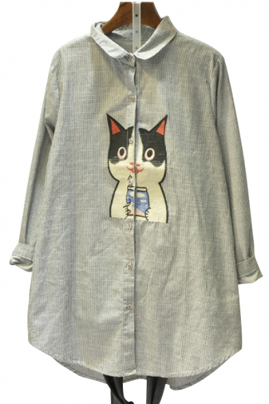 Trendy Cartoon Cat Embroidered Striped Pattern Lapel Long Sleeve Tunic Shirt
