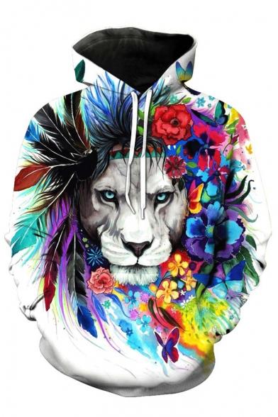 Trendy Floral Lion Printed Long Sleeves Pullover Loose Unisex Hoodie