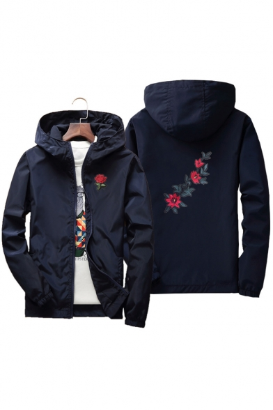 Floral Coat Pockets Spring Hooded Embroidered Zippered Unisex with TxX7qwdRnT