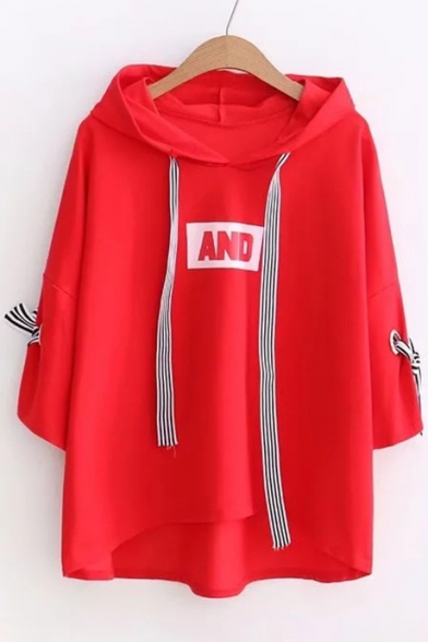 Sleeve AND Half Shirt Detail Bow Letter Hooded Printed Cuff T 0a0nvqw