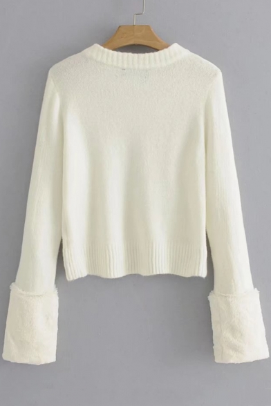 Basic Sleeve Cropped Neck Round Plain Sweater Long Pullover rIXRnrP